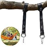 POOTACK 1 Paar Baum Swing Hanging Gurt Kit Polyester-Faser Riemen mit 2 Safety Lock Karabiner Haken und 2 langlebige D-Ring für Baum Swing & Hängematten, mit Carry Pouch (150CM)